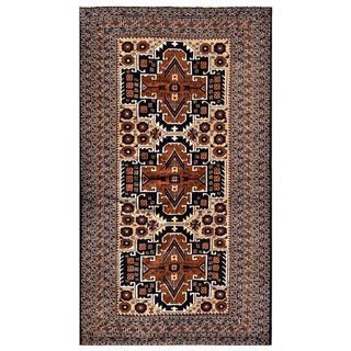 Herat Oriental Semi-antique Afghan Hand-knotted Tribal Balouchi Beige/ Navy Wool Rug (3'7 x 6'3)
