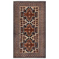 Herat Oriental Afghan Hand-knotted 1960s Semi-antique Tribal Balouchi Wool Rug (3'7 x 6'3) - 3'7 x 6'3