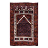 Herat Oriental Afghan Hand-knotted 1960s Semi-antique Tribal Balouchi Wool Rug - 3'2 x 4'9