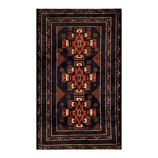 Herat Oriental Semi-antique Afghan Hand-knotted Tribal Balouchi Navy/ Brown Wool Rug (2'7 x 4'4)
