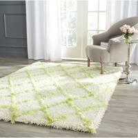 Safavieh Moroccan Shag Ivory/ Green Trellis Rug - 5' Square