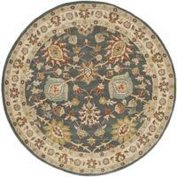 Safavieh Handmade Classic Dark Grey/ Ivory Wool Rug - 6' Round