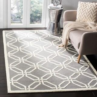 Safavieh Handmade Moroccan Cambridge Dark Grey/ Ivory Wool Rug (4' x 6')