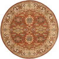 Safavieh Handmade Heritage Timeless Traditional Rust/ Beige Wool Rug (6' Round)