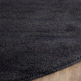 Safavieh Handmade Himalaya Solid Black Wool Rug (6' Round)