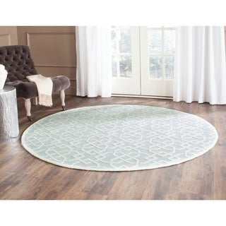 Safavieh Hand-hooked Newport Light Blue/ White Cotton Rug (6' Round)