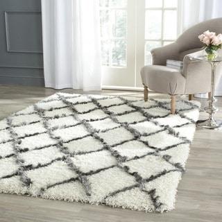 Safavieh Moroccan Shag Ivory/ Grey Trellis Rug (8' x 10')
