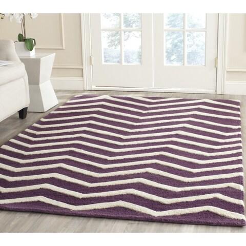 Safavieh Handmade Moroccan Cambridge Purple/ Ivory Wool Rug - 6' x 6' Square