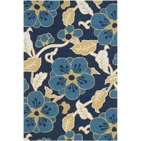 Safavieh Hand-Hooked Four Seasons Navy / Multicolored Polyester Rug - 3'6 x 5'6