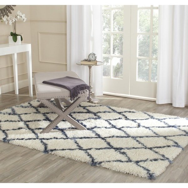 Safavieh Moroccan Blue And Black Area Rug: Shop Safavieh Moroccan Shag Ivory/ Blue Trellis Rug