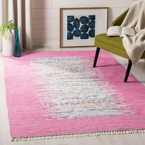 Safavieh Montauk Hand-Woven Flatweave Ivory/ Pink Border Cotton Rug - 8' x 10'