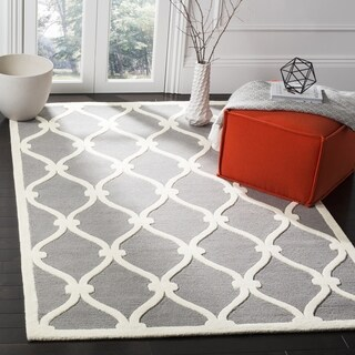 Safavieh Handmade Moroccan Cambridge Dark Grey/ Ivory Wool Rug (8' Square)