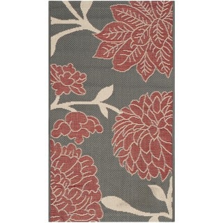 Safavieh Indoor/ Outdoor Courtyard Anthracite/ Beige Rug (2' x 3'7)