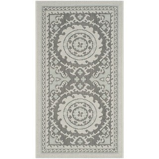 Safavieh Indoor/ Outdoor Courtyard Light Grey/ Anthracite Rug (2' x 3'7)