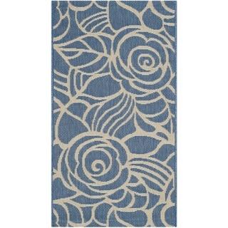 Safavieh Courtyard Roses Blue/ Beige Indoor/ Outdoor Rug (2' x 3'7)