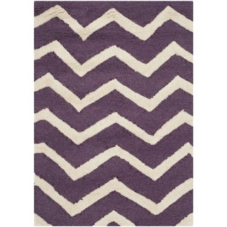 Safavieh Handmade Moroccan Cambridge Purple/ Ivory Wool Rug (2' x 3')