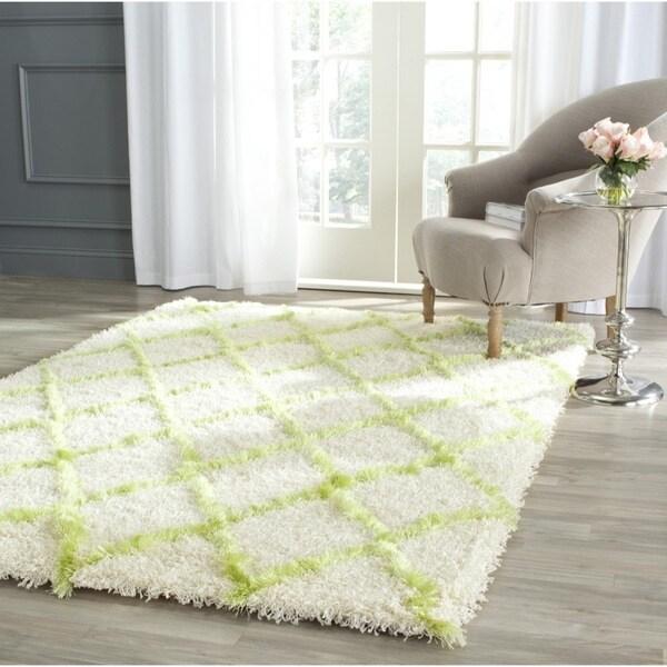 Safavieh Moroccan Shag Ivory/ Green Trellis Rug - 8'6 x 12'