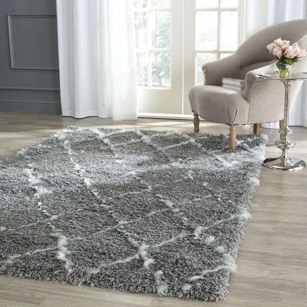 Safavieh Moroccan Shag Grey/ Ivory Trellis Rug (8'6 x 12')