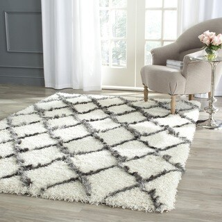 Safavieh Moroccan Shag Ivory/ Grey Trellis Rug (8'6 x 12')