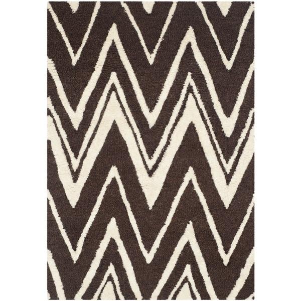 Safavieh Handmade Moroccan Cambridge Brown/ Ivory Wool Rug (2' x 3') - 2' x 3'