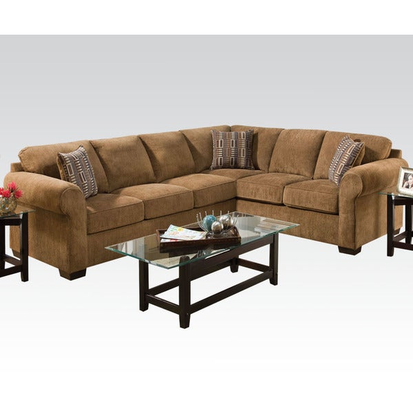 Tremendous Berovo Walnut Fabric Corner Sectional Sofa Caraccident5 Cool Chair Designs And Ideas Caraccident5Info