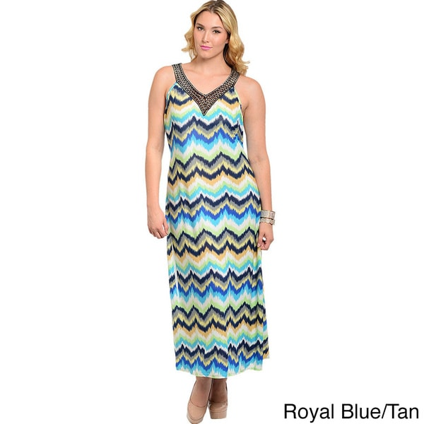 Shop The Trends Women's Plus Size Watercolor Zig-zag Print Halter Maxi Dress