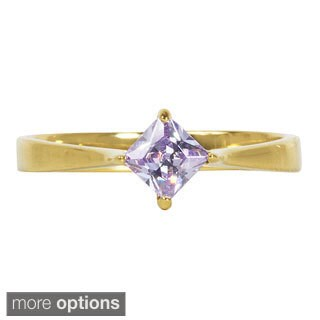 NEXTE Jewelry Sterling Silver Lavender Princess-cut Cubic Zirconia Solitaire Ring