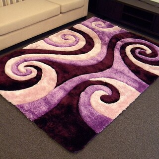 3D Shaggy-805 Abstract Swirl Purple Color Area Rug (5' x 7')