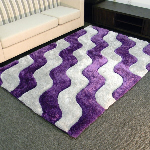 3d shaggy-802 abstract 2-tone wavy purple area rug (5' x 7