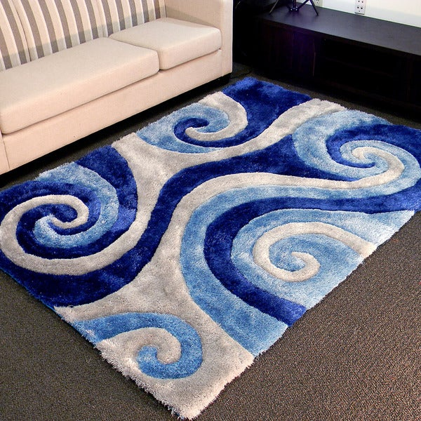 3D Shaggy-805 Abstract Swirl Blue Area Rug (5' x 7