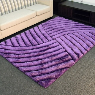 3D Shaggy-800 Abstract Wave Purple Area Rug (5' x 7')