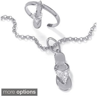 Platinum over Silver Diamond Accent Flip Flop Anklet and Toe Ring Set