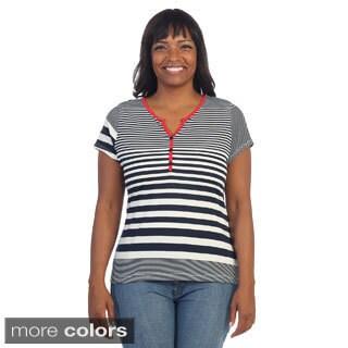 Hadari Women's Plus Size Striped Short Sleeve V-neck