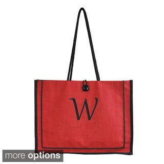 Personalized Red Newport Jute Tote