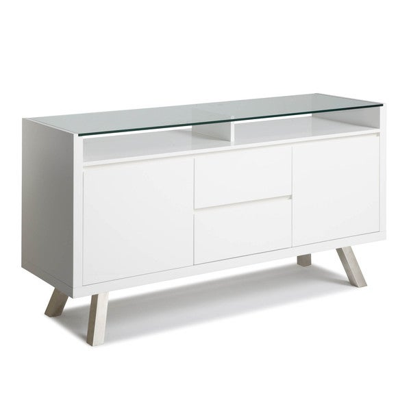 Sunpan 'Ikon' Tista White Glass-top Sideboard Cabinet