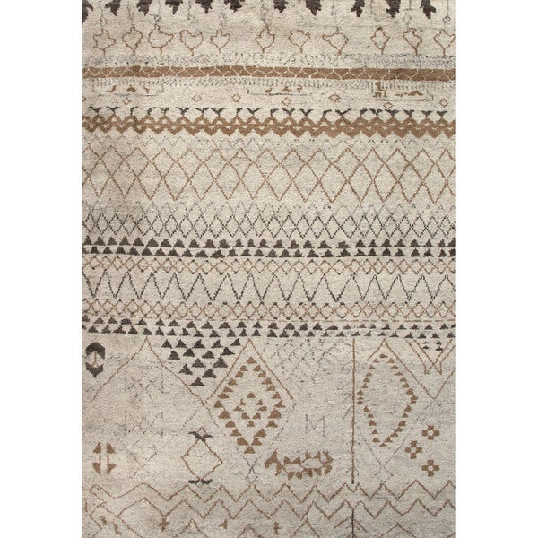 Zagora Hand Knotted Geometric Cream Brown Area Rug 8 X27