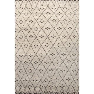 Hand Knotted Southwestern/Tribal Pattern Grey Wool Area Rug (2' x 3')