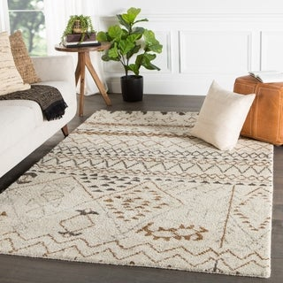 Zagora Hand-Knotted Geometric Cream/ Brown Area Rug (5' X 8') - 5' x 8'