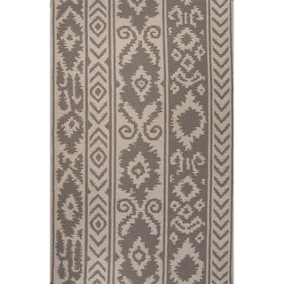 Southwestern/Tribal Pattern Grey/ Ivory Wool Area Rug (5'x8')