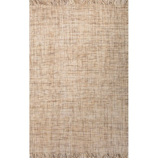 Flat Weave Solid Pattern Natural Wool Area Rug (8' x 10')