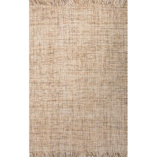 Flat Weave Solid Pattern Natural Wool Area Rug (5' x 8')