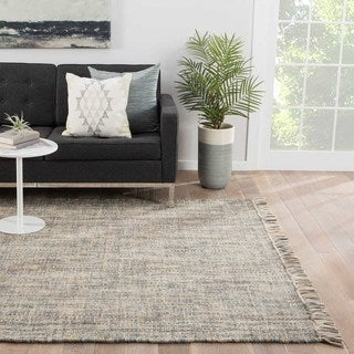 Flat Weave Solid Pattern Grey Wool Area Rug (5' x 8')