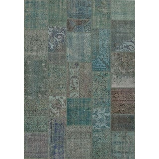 Hand Knotted Oriental Pattern Blue/ Green Wool Area Rug (2' x 3')
