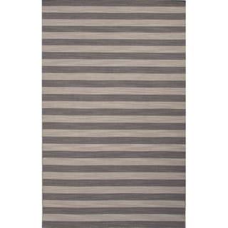 Flat Weave Stripe Pattern Grey/ Green Wool Area Rug (8' x 10')