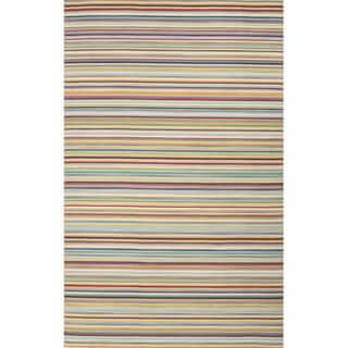Flat Weave Stripe Pattern Orange/ Blue Wool Area Rug (8'x10')