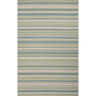 Flat Weave Stripe Pattern Blue/ Green Wool Area Rug (8' x 10')