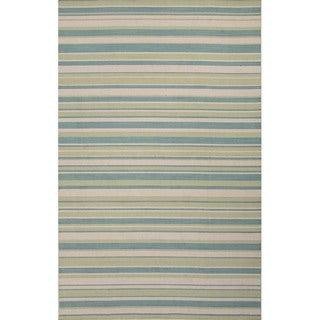 Handmade Stripes Blue Area Rug (2' X 3')
