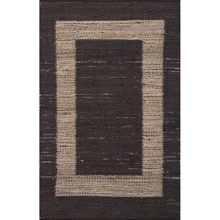 Geometric Pattern Black/ Natural Jute/ Cotton Area Rug (2'3x3'9)