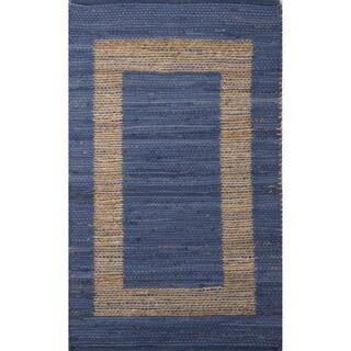 Geometric Pattern Blue/ Natural Jute/ Cotton Area Rug (2'3 x 3'9)