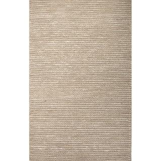 Handmade Stripe Pattern Grey Hemp Area Rug (3'x5')